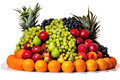 Tray with fruit large different beautifully laid out on a white background Stock Photography