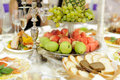 Tray with fruits silver at restaurant Royalty Free Stock Image