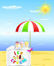 Tray with ice cream is on the beach. Royalty Free Stock Images