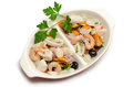 Tray of mixed seafood salad Stock Photo