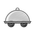 Tray server with wheels isolated icon