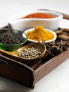 Tray of spices few asian on the Stock Photo