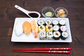 Tray of sushi on wood Royalty Free Stock Photo