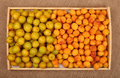 Tray of yellow plums and apricots on canvas wooden full fresh mellow cherry ripe burlap background top view Stock Image