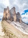 Tre Cime di Lavaredo, aka Drei Zinnen, rock formation in Dolomites, Italy Royalty Free Stock Photo