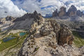 Tre cime di lavaredo and monte paterno dolomites italy alps lago dei piani Stock Photos