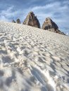 Tre Cime di Lavaredo & x22;Drei Zinnen & x22;,spring tour around at sunset, Dolomite Alps, Italy, Europe Royalty Free Stock Photo