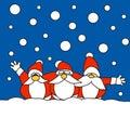Tre il Babbo Natale insieme nella neve Fotografie Stock Libere da Diritti