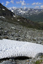 Treacherous snowfield in the mountains Royalty Free Stock Photo