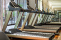 Treadmill machines in gym Royalty Free Stock Photo