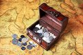Treasure box and coins Royalty Free Stock Photo