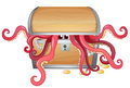 A treasure box with an octopus inside Royalty Free Stock Photos