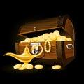 Treasure chest and Aladdin's magic lamp Royalty Free Stock Photo
