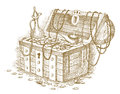 Treasure chest drawn by hand eps Royalty Free Stock Photo