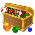 Treasure chest full of christmas goodies Royalty Free Stock Image