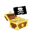 Treasure chest with golden coins and pirate flag isolated on white Stock Photo