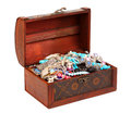 Treasure chest isolated on white Royalty Free Stock Photography