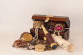 Treasure chest over white background Stock Images