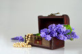 Treasure chest, pearls and spring flowers Royalty Free Stock Photo