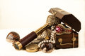 Treasure chest pirate with pearls jewels coins and glass Stock Photos