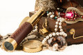 Treasure chest pirate with pearls jewels coins and glass Stock Image