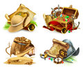 Treasure hunt and adventure. 3d vector icon set