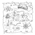 Treasure Island  map kids coloring page Royalty Free Stock Photo