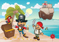 Treasure island pirates find chest with gold on the coast Stock Images