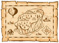Treasure map with island and balloon