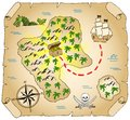 Treasure map vector illustration of a hand drawn Stock Image