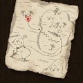 Treasure map on wooden background. Stock Photos