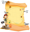 A treasure map and a young girl holding a telescope Royalty Free Stock Photo