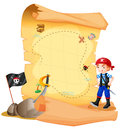 A treasure map with a young pirate illustration of on white background Stock Image