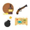 Treasures pirate adventures toy accessories icons vector set.