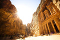 The Treasury (Al Khazneh) of Petra Ancient City with Golden Sun Royalty Free Stock Photo