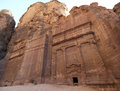 Treasury tomb in petra jordan carved elements of facade Stock Photo