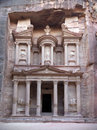 Treasury tomb in petra jordan carved elements of facade Stock Photos