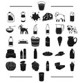 Treat, cafe, restaurant and other web icon in black style.condensed milk, coffee, container, icons in set collection. Royalty Free Stock Photo
