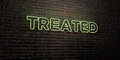 TREATED -Realistic Neon Sign on Brick Wall background - 3D rendered royalty free stock image