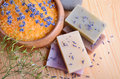Treatment for bodycare natural soaps and salt spa and with lavender flowers Stock Photo