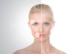Treatment before and after on nordic beauty blond girl with indicators her face face divides in two halves Royalty Free Stock Photos