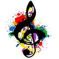 Treble clef with colorful splashes Royalty Free Stock Photos