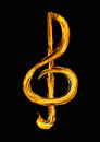 Treble clef from a fire on black background Royalty Free Stock Photo