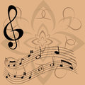 Treble clef and floating notes