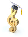 Treble clef with graduation cap golden d illustration Stock Photo