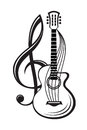 Treble clef and guitar Royalty Free Stock Photo