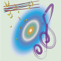 Treble clef melody and on a bright background uplifting note you can sing and you can play Royalty Free Stock Images