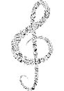 Treble clef from notes vector illustration Stock Images