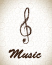 Treble clef over vintage background vector illustration Royalty Free Stock Images