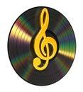 Treble Clef Over The Vinyl Royalty Free Stock Photo